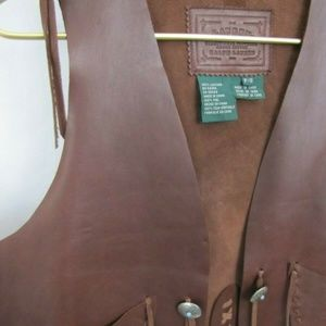 RALPH LAUREN LRL Brown Leather Vest Southwestern S